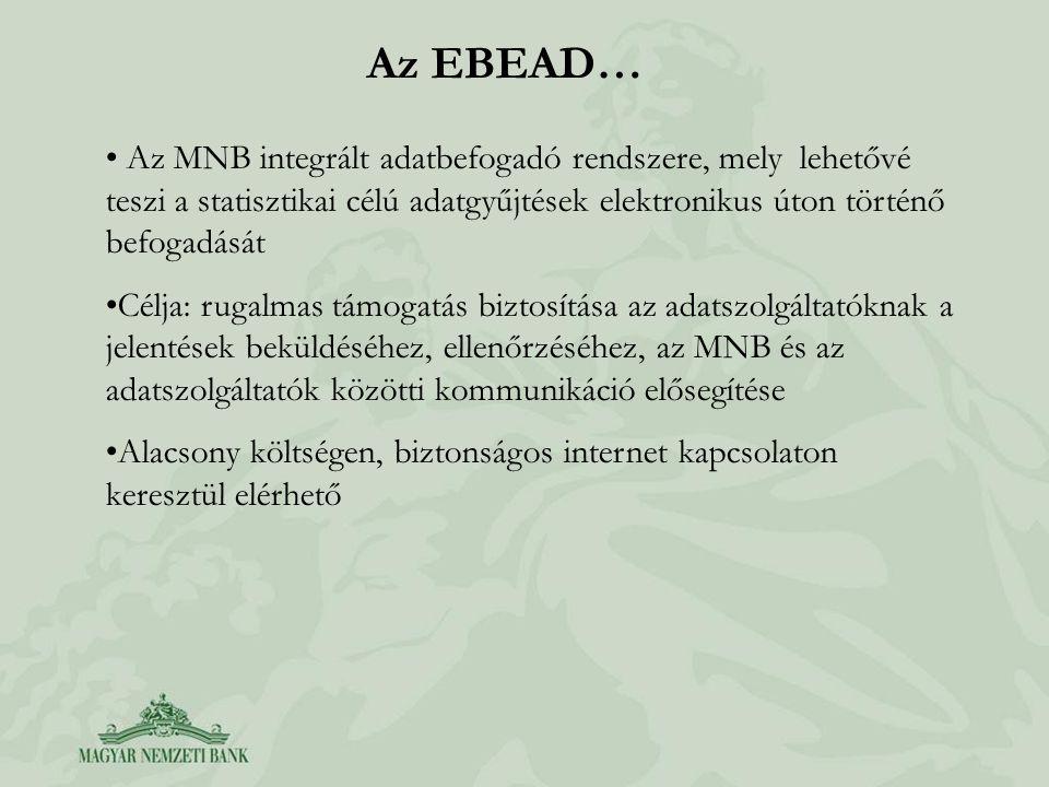 Az EBEAD… Az MNB integrált adatbefogadó rendszere, mely lehetővé teszi a statisztikai célú adatgyűjtések elektronikus úton történő befogadását.