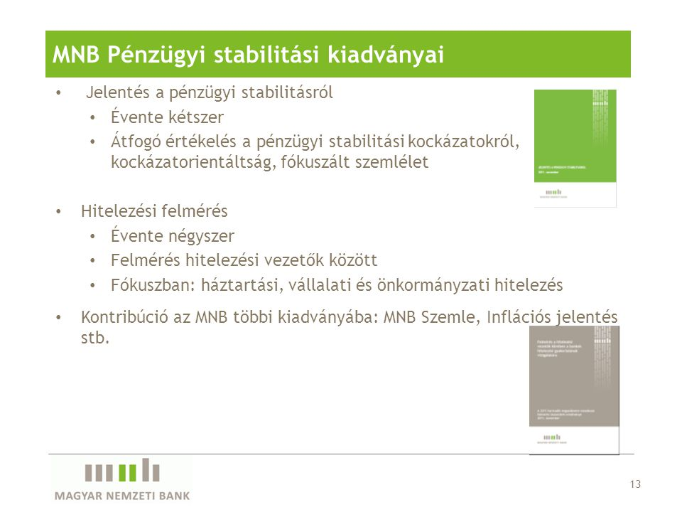 MNB Pénzügyi stabilitási kiadványai