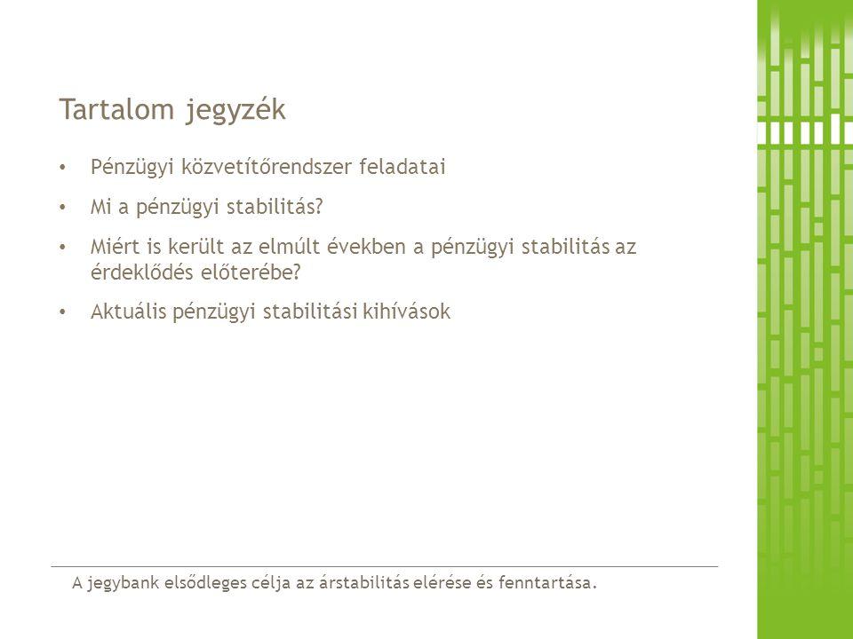 Tartalom jegyzék Pénzügyi közvetítőrendszer feladatai