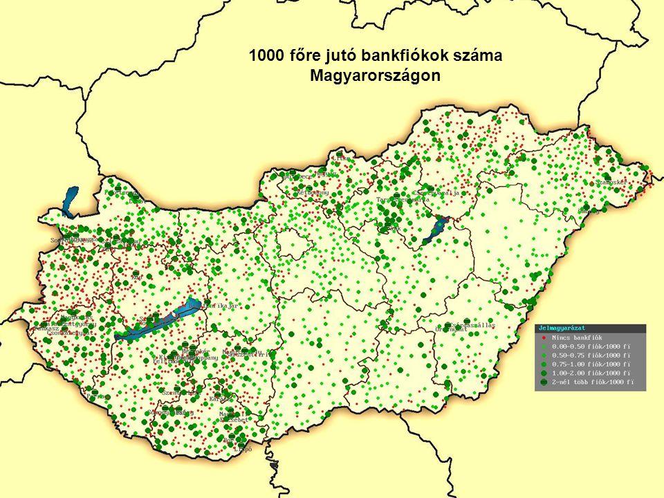 1000 főre jutó bankfiókok száma Magyarországon