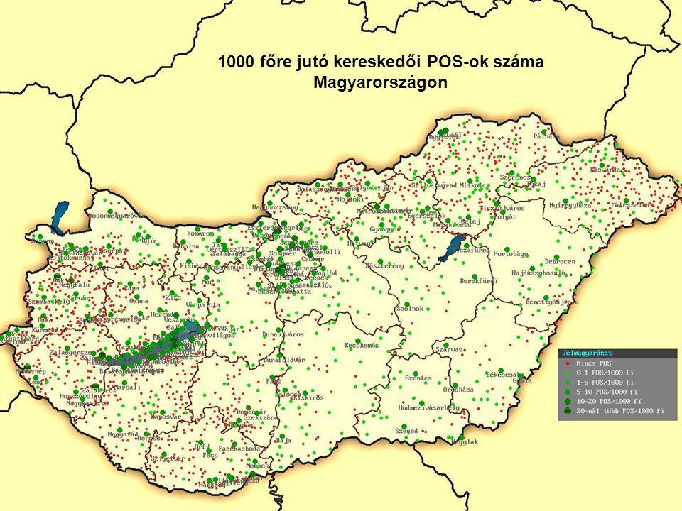 1000 főre jutó kereskedői POS-ok száma Magyarországon