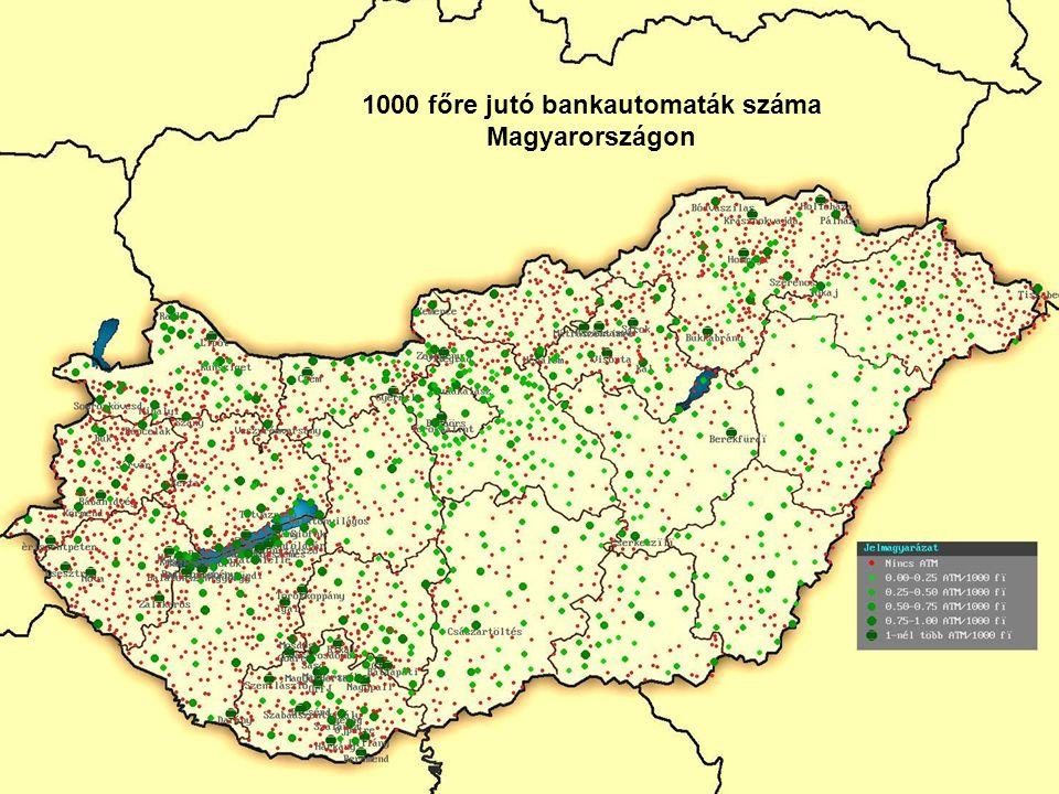 1000 főre jutó bankautomaták száma Magyarországon