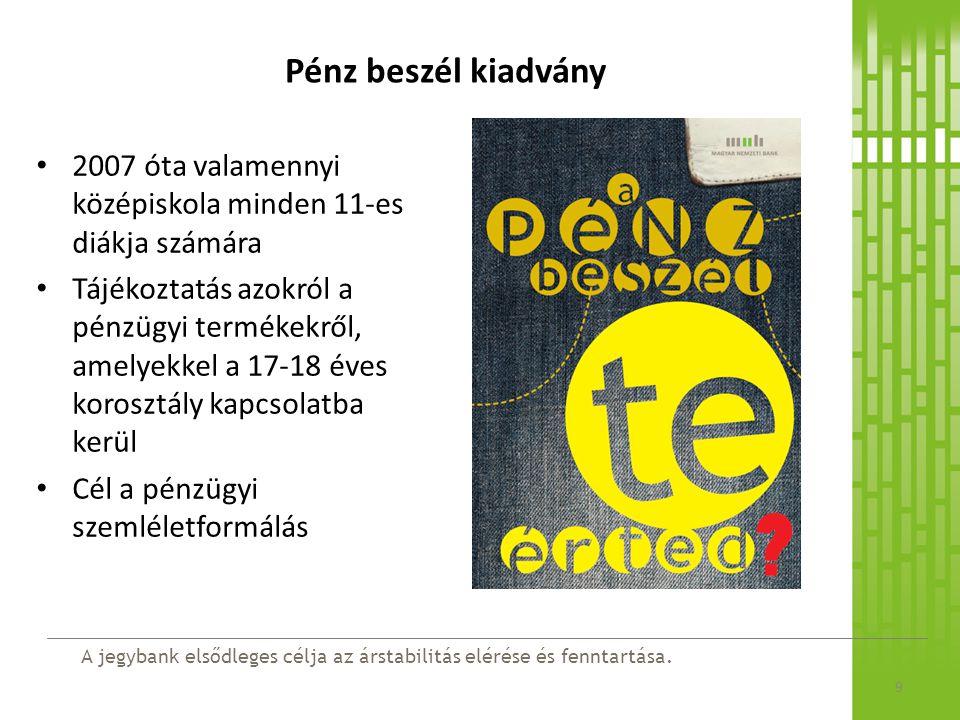 Pénz beszél kiadvány 2007 óta valamennyi középiskola minden 11-es diákja számára.
