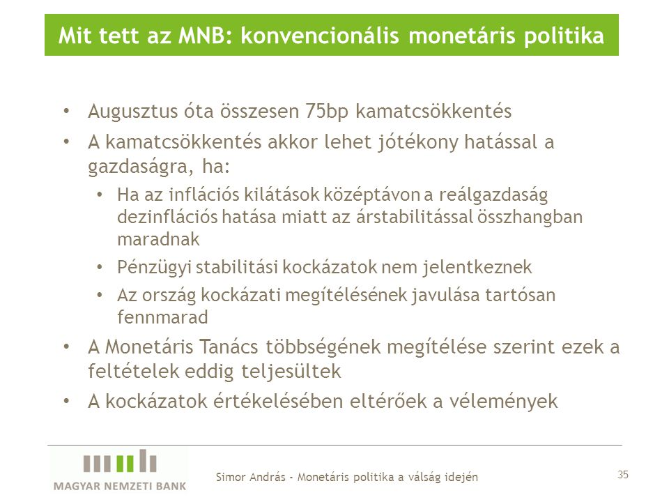 Mit tett az MNB: konvencionális monetáris politika