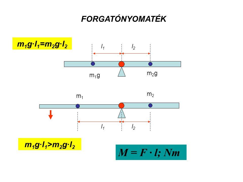 M = F · l; Nm FORGATÓNYOMATÉK m1g·l1=m2g·l2 m1g·l1>m2g·l2 l1 l2 m2g