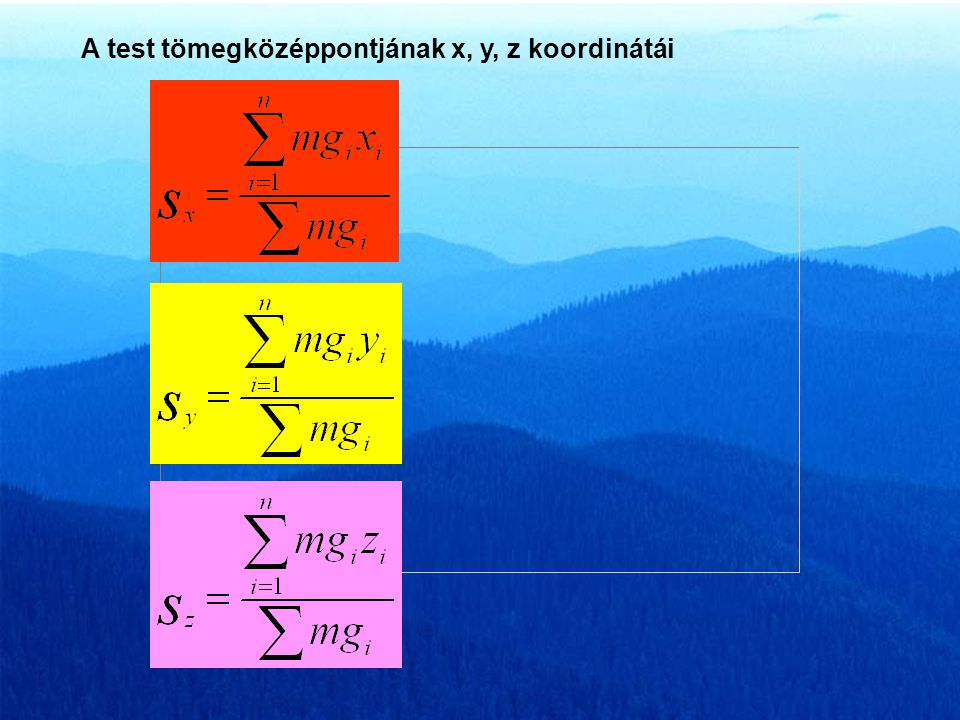 A test tömegközéppontjának x, y, z koordinátái