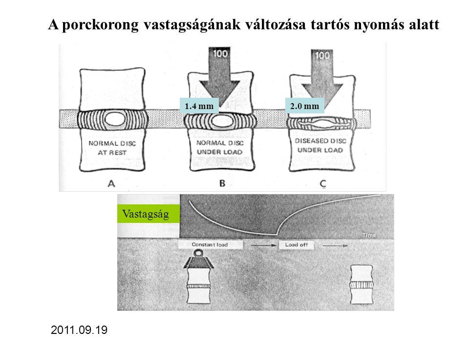 A porckorong vastagságának változása tartós nyomás alatt