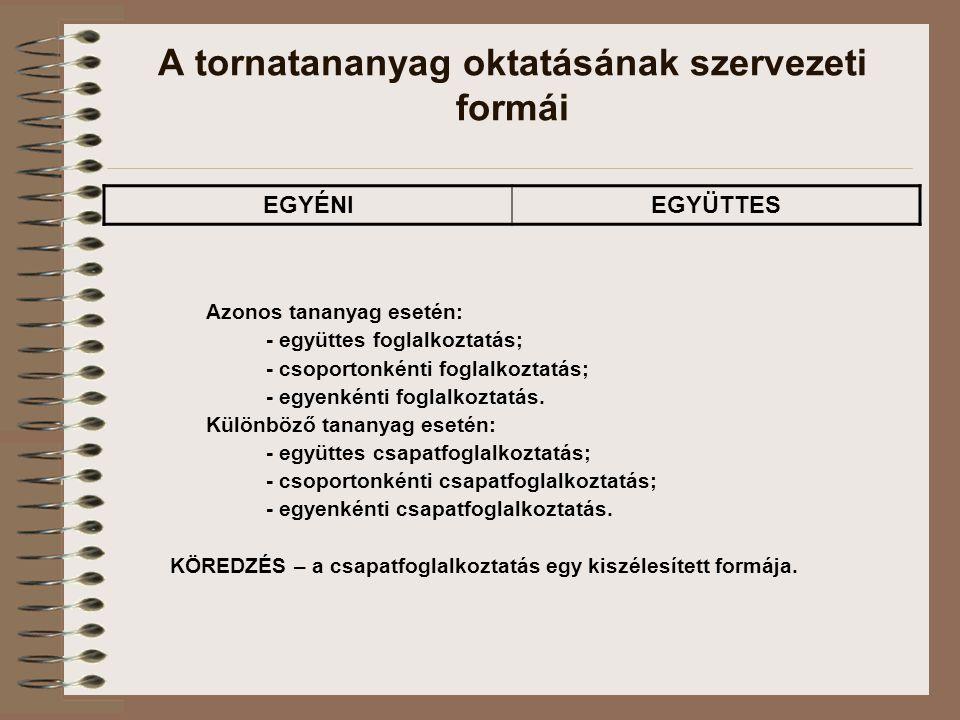 A tornatananyag oktatásának szervezeti formái