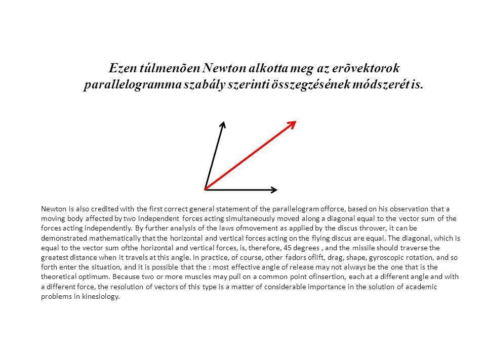Ezen túlmenõen Newton alkotta meg az erõvektorok parallelogramma szabály szerinti összegzésének módszerét is.