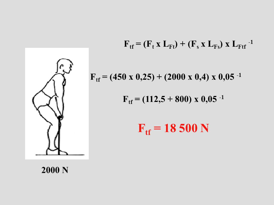 Ftf = 18 500 N Ftf = (Ft x LFt) + (Fs x LFs) x LFtf -1