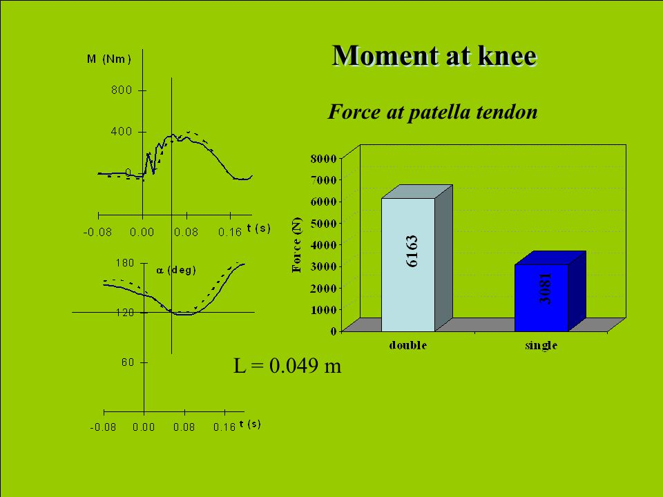Moment at knee Force at patella tendon L = 0.049 m