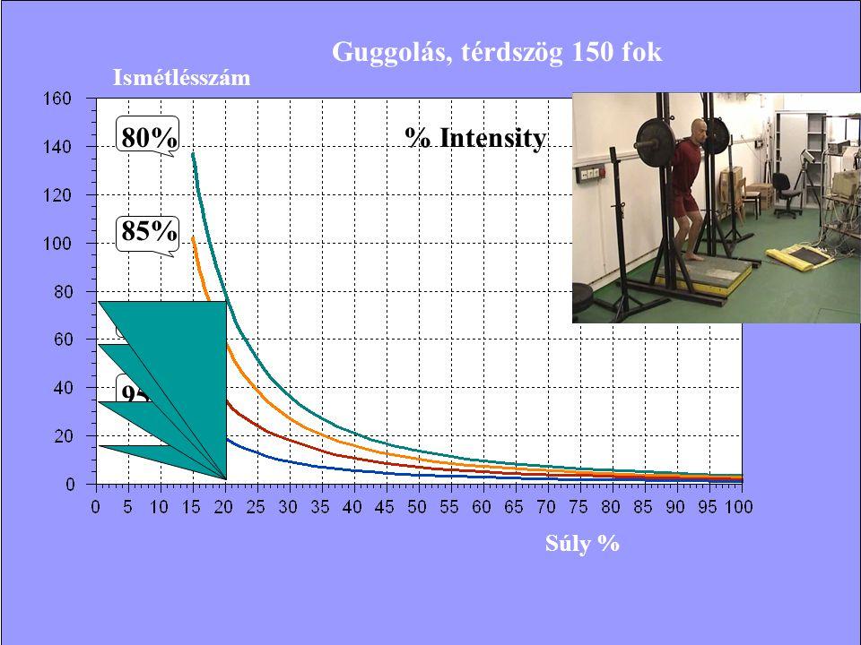 Guggolás, térdszög 150 fok 80% % Intensity 85% 90% 95% Ismétlésszám