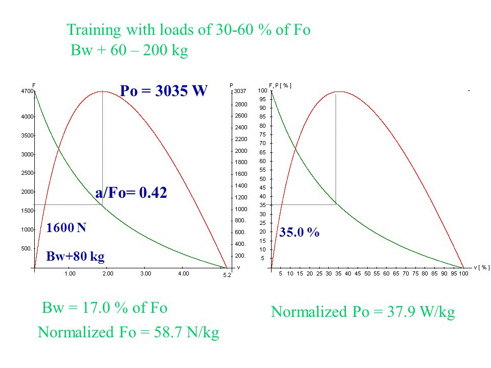 Training with loads of 30-60 % of Fo Bw + 60 – 200 kg