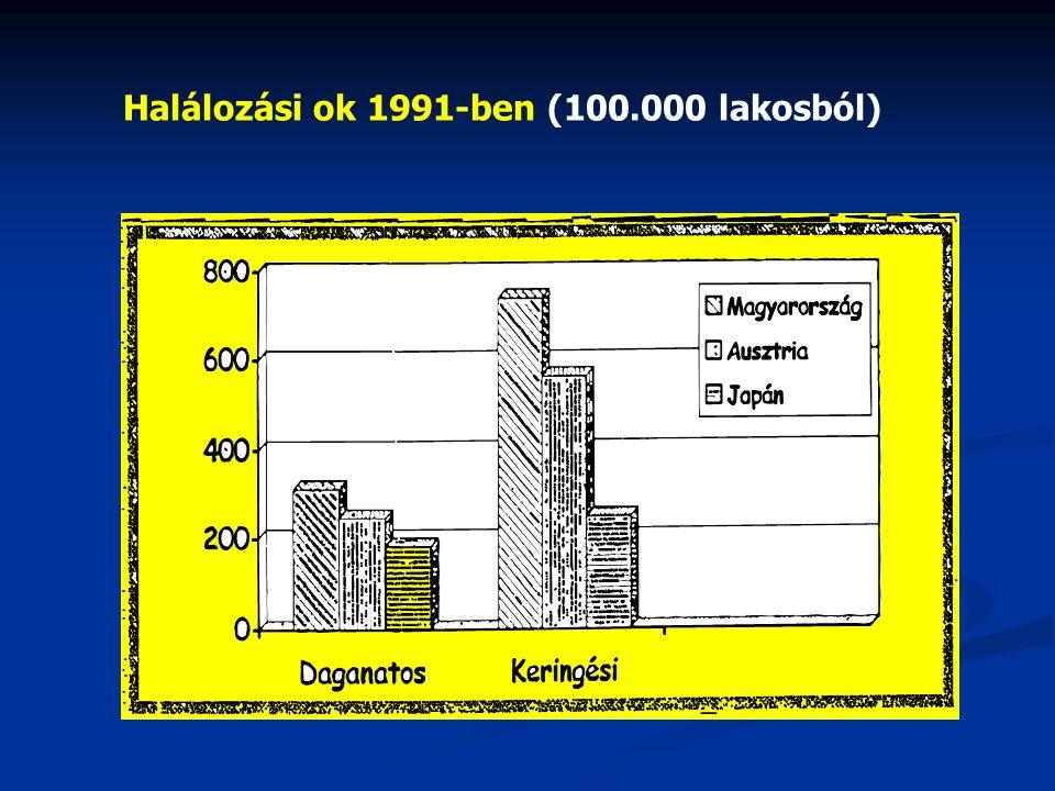 Halálozási ok 1991-ben (100.000 lakosból)