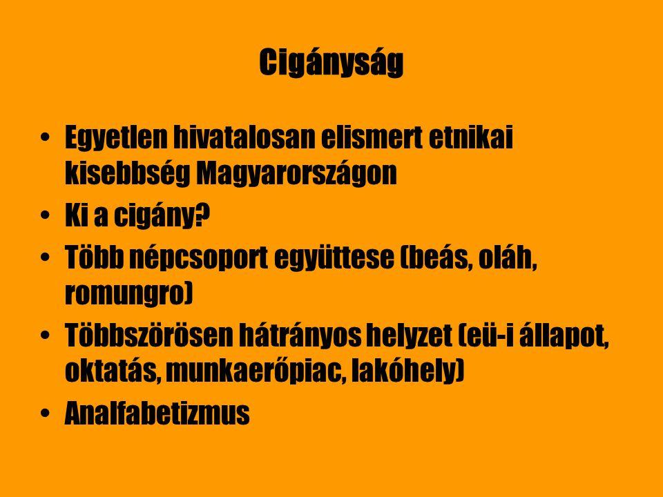 Cigányság Egyetlen hivatalosan elismert etnikai kisebbség Magyarországon. Ki a cigány Több népcsoport együttese (beás, oláh, romungro)