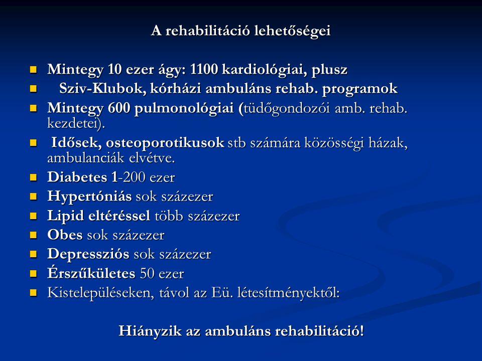 A rehabilitáció lehetőségei Hiányzik az ambuláns rehabilitáció!