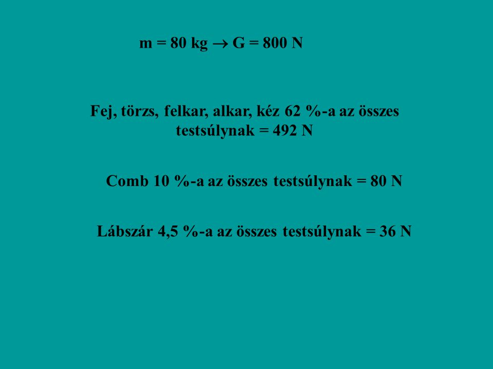 Fej, törzs, felkar, alkar, kéz 62 %-a az összes testsúlynak = 492 N
