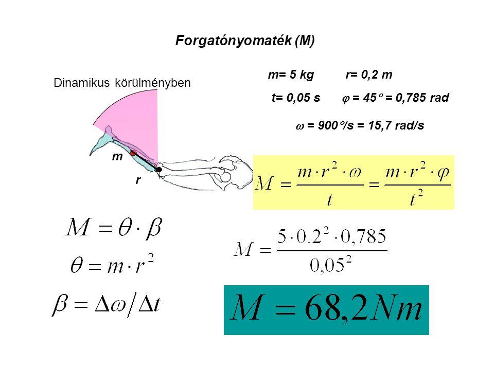 Forgatónyomaték (M) m= 5 kg r= 0,2 m Dinamikus körülményben t= 0,05 s