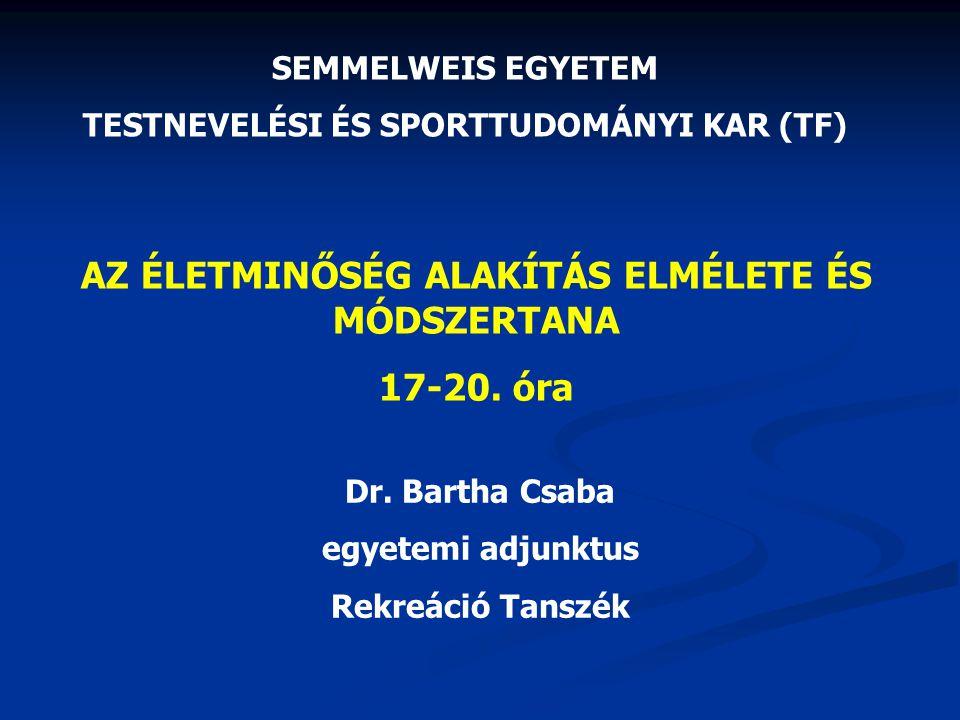 AZ ÉLETMINŐSÉG ALAKÍTÁS ELMÉLETE ÉS MÓDSZERTANA 17-20. óra