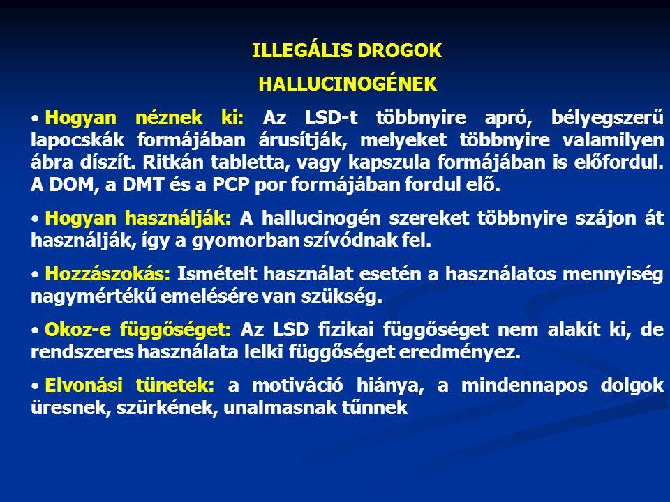 ILLEGÁLIS DROGOK HALLUCINOGÉNEK.