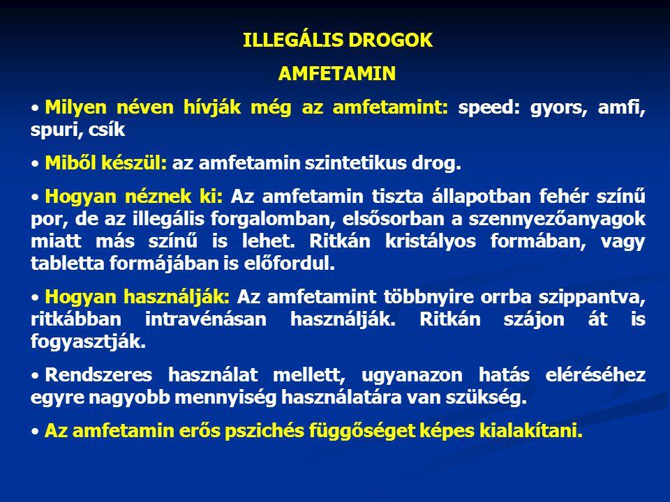 ILLEGÁLIS DROGOK AMFETAMIN. Milyen néven hívják még az amfetamint: speed: gyors, amfi, spuri, csík.