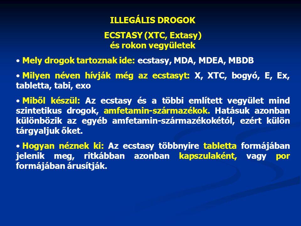 ECSTASY (XTC, Extasy) és rokon vegyületek