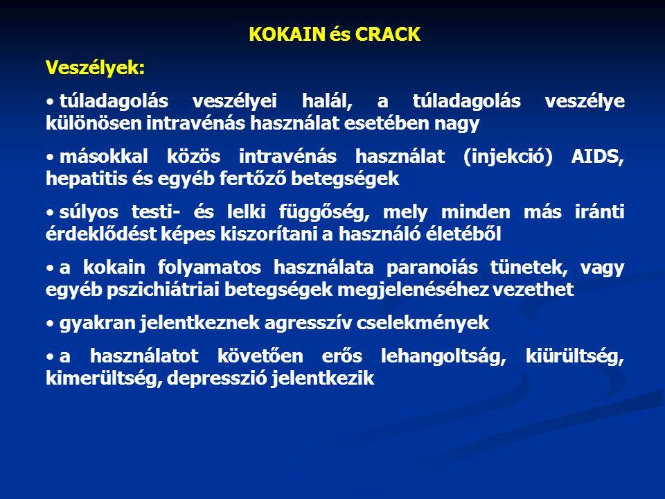 KOKAIN és CRACK Veszélyek: túladagolás veszélyei halál, a túladagolás veszélye különösen intravénás használat esetében nagy.