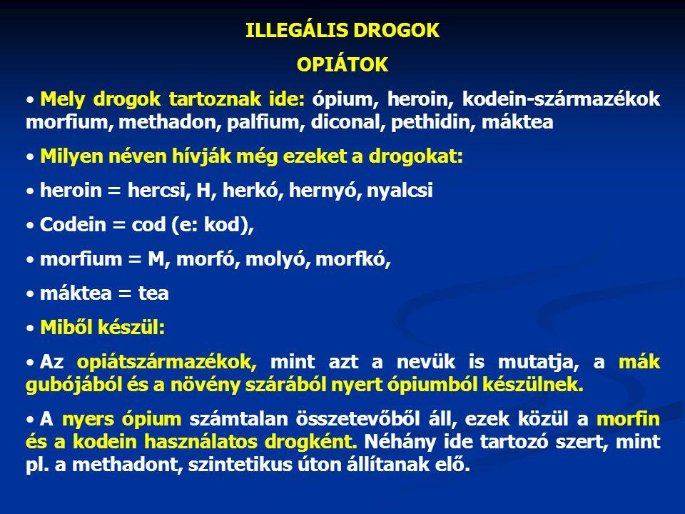 ILLEGÁLIS DROGOK OPIÁTOK. Mely drogok tartoznak ide: ópium, heroin, kodein-származékok morfium, methadon, palfium, diconal, pethidin, máktea.