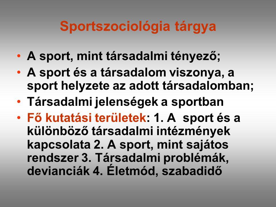 Sportszociológia tárgya