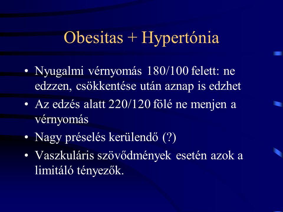 Obesitas + Hypertónia Nyugalmi vérnyomás 180/100 felett: ne edzzen, csökkentése után aznap is edzhet.