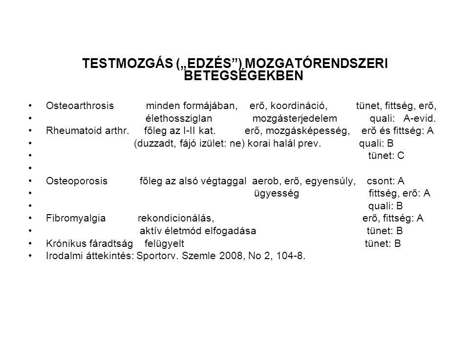 """TESTMOZGÁS (""""EDZÉS ) MOZGATÓRENDSZERI BETEGSÉGEKBEN"""