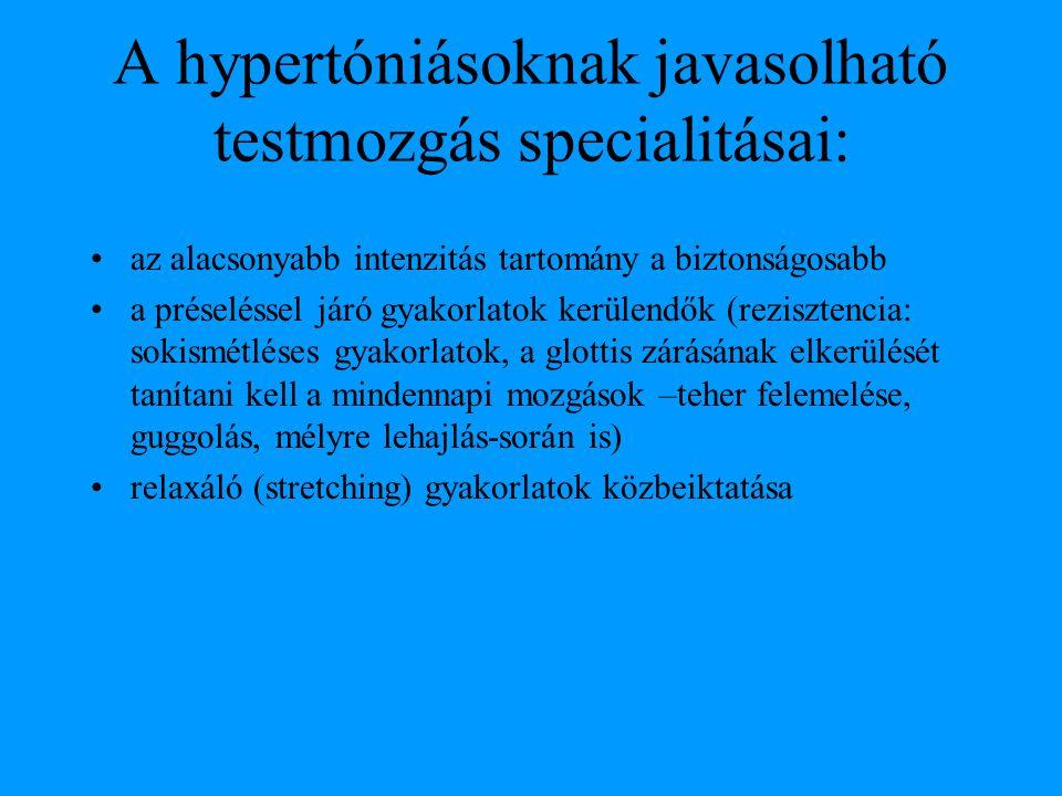 A hypertóniásoknak javasolható testmozgás specialitásai: