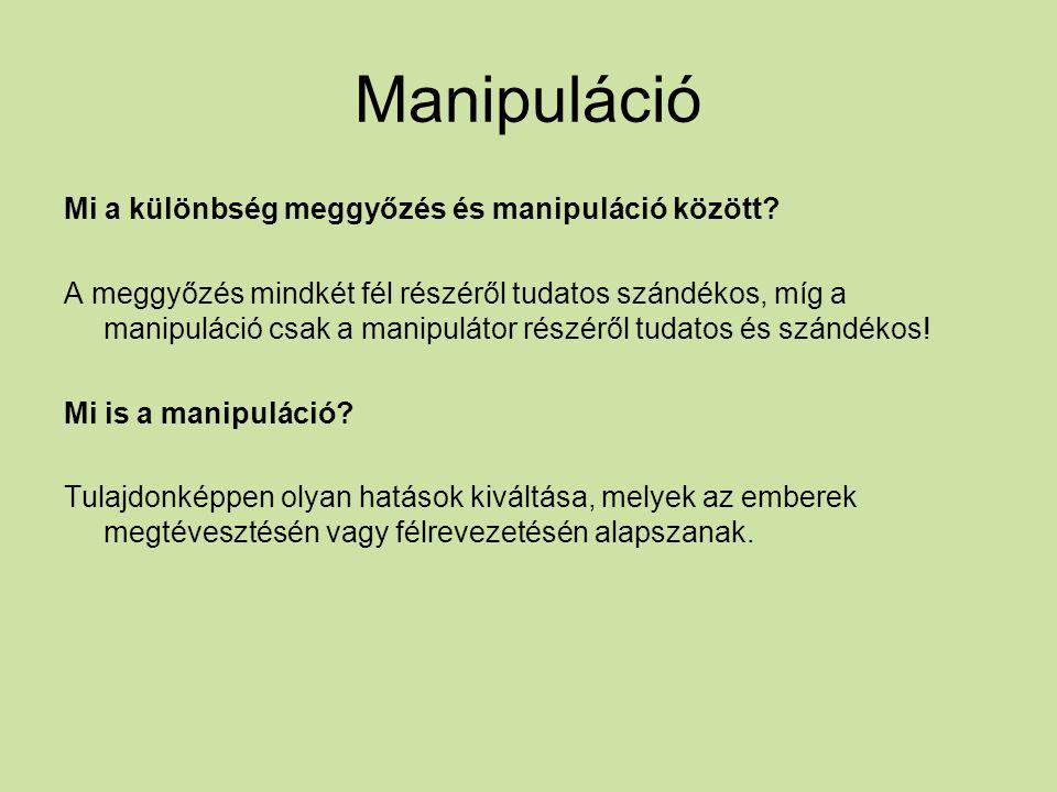 Manipuláció Mi a különbség meggyőzés és manipuláció között