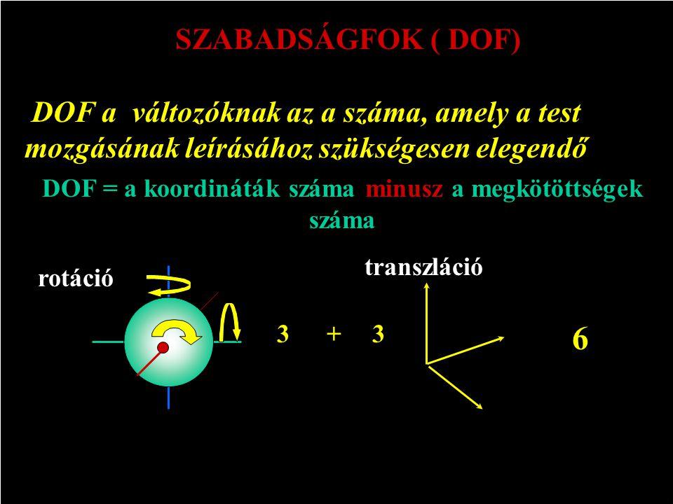 DOF = a koordináták száma minusz a megkötöttségek száma