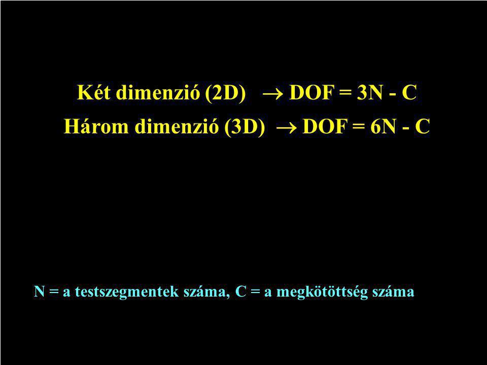 Két dimenzió (2D)  DOF = 3N - C Három dimenzió (3D)  DOF = 6N - C