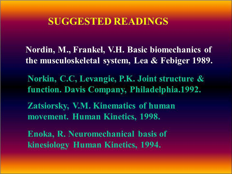 SUGGESTED READINGS Nordin, M., Frankel, V.H. Basic biomechanics of the musculoskeletal system, Lea & Febiger 1989.