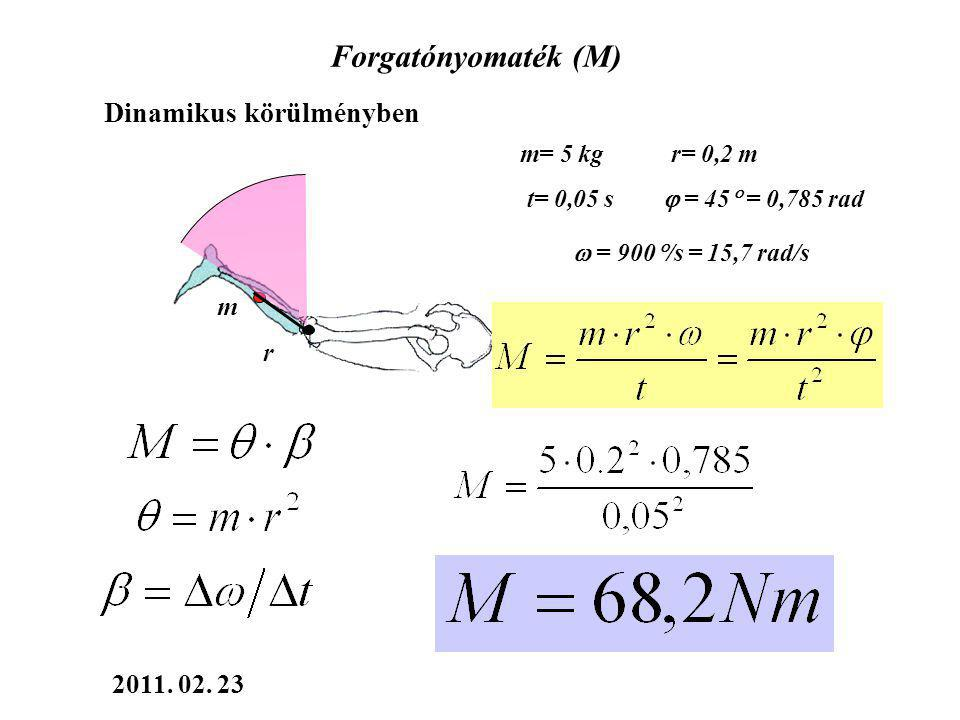 Forgatónyomaték (M) Dinamikus körülményben m= 5 kg r= 0,2 m t= 0,05 s