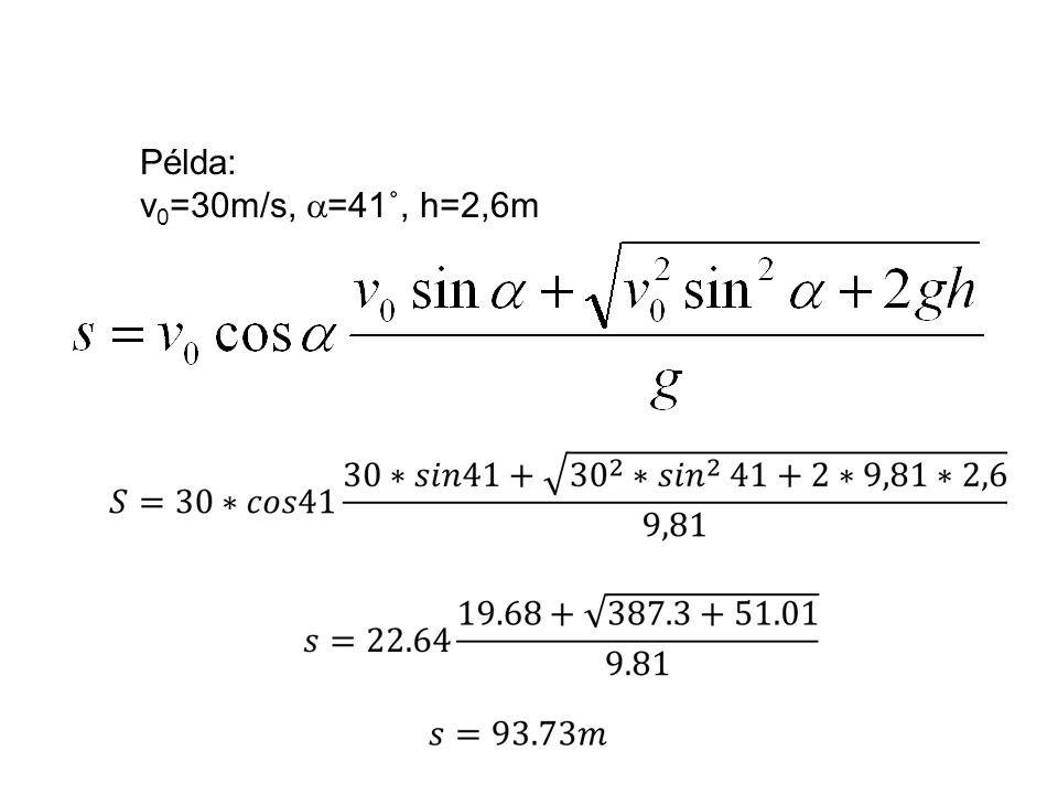 Példa: v0=30m/s, =41˚, h=2,6m