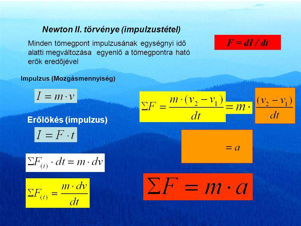 F = dI / dt Newton II. törvénye (impulzustétel) Erőlökés (impulzus)
