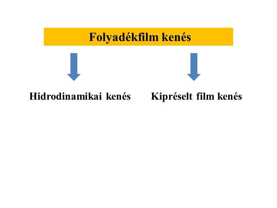 Folyadékfilm kenés Hidrodinamikai kenés Kipréselt film kenés