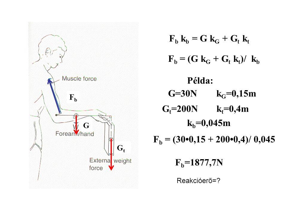 Fb kb = G kG + Gt kt Fb = (G kG + Gt kt)/ kb Példa: G=30N kG=0,15m