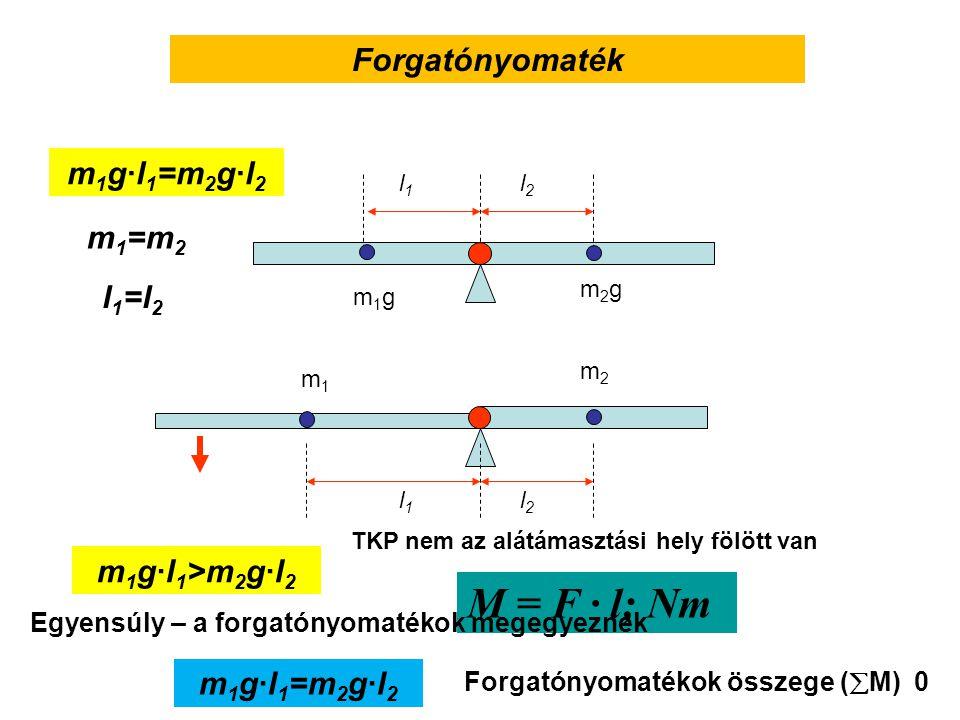 M = F · l; Nm Forgatónyomaték m1g·l1=m2g·l2 m1=m2 l1=l2