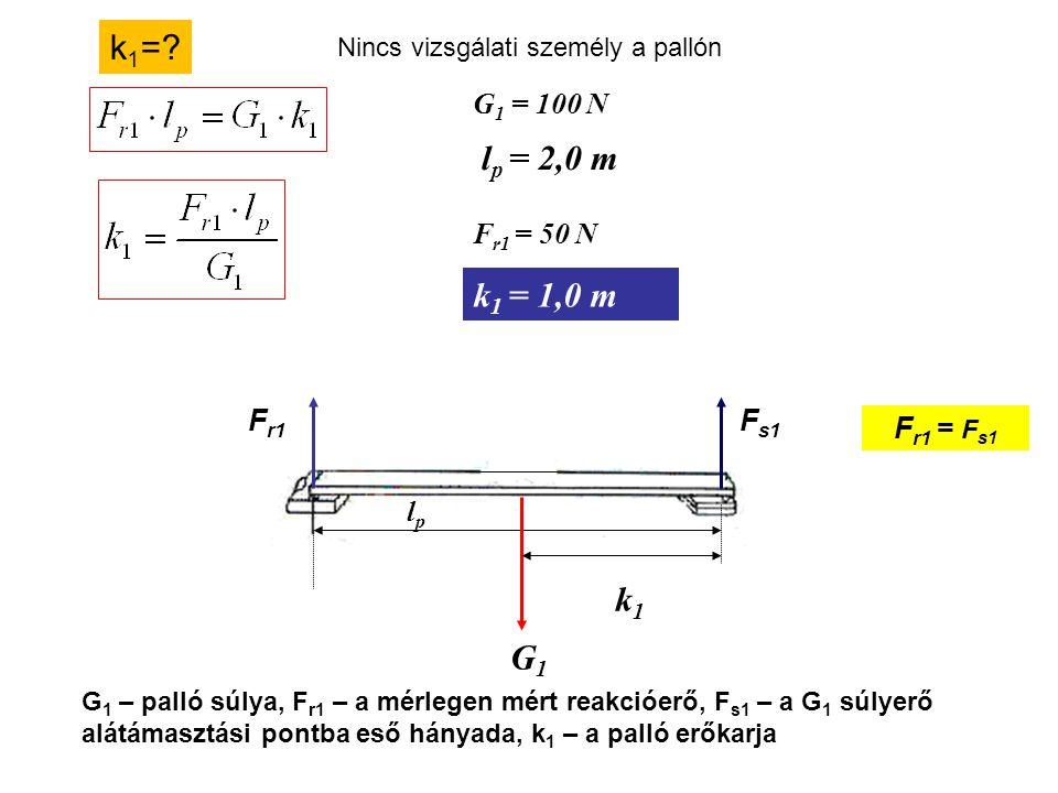 k1= lp = 2,0 m k1 = 1,0 m k1 G1 G1 = 100 N Fr1 = 50 N Fr1 Fs1