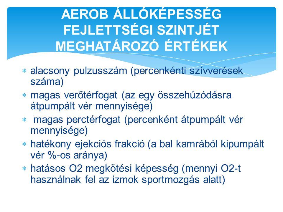 AEROB ÁLLÓKÉPESSÉG FEJLETTSÉGI SZINTJÉT MEGHATÁROZÓ ÉRTÉKEK