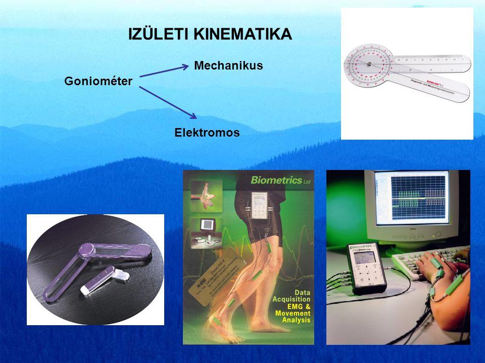 IZÜLETI KINEMATIKA Mechanikus Goniométer Elektromos