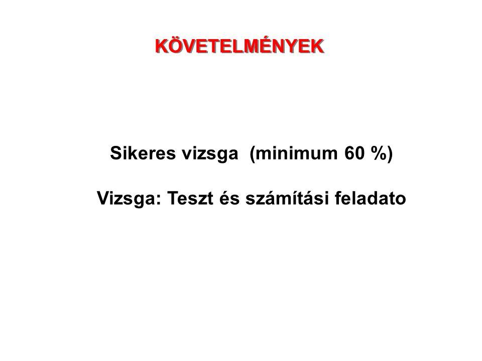 Sikeres vizsga (minimum 60 %) Vizsga: Teszt és számítási feladato