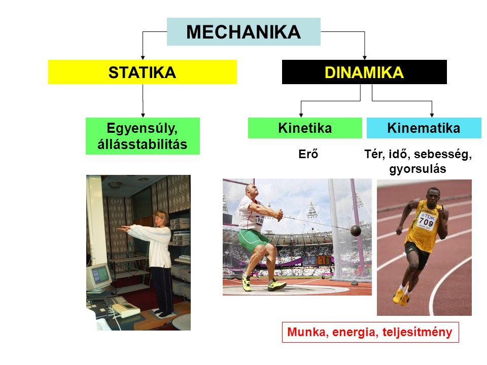 MECHANIKA STATIKA DINAMIKA Egyensúly, állásstabilitás Kinetika