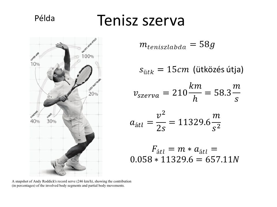 Tenisz szerva Példa 𝑚 𝑡𝑒𝑛𝑖𝑠𝑧𝑙𝑎𝑏𝑑𝑎 =58𝑔 𝑠 ü𝑡𝑘 =15𝑐𝑚 (ütközés útja)