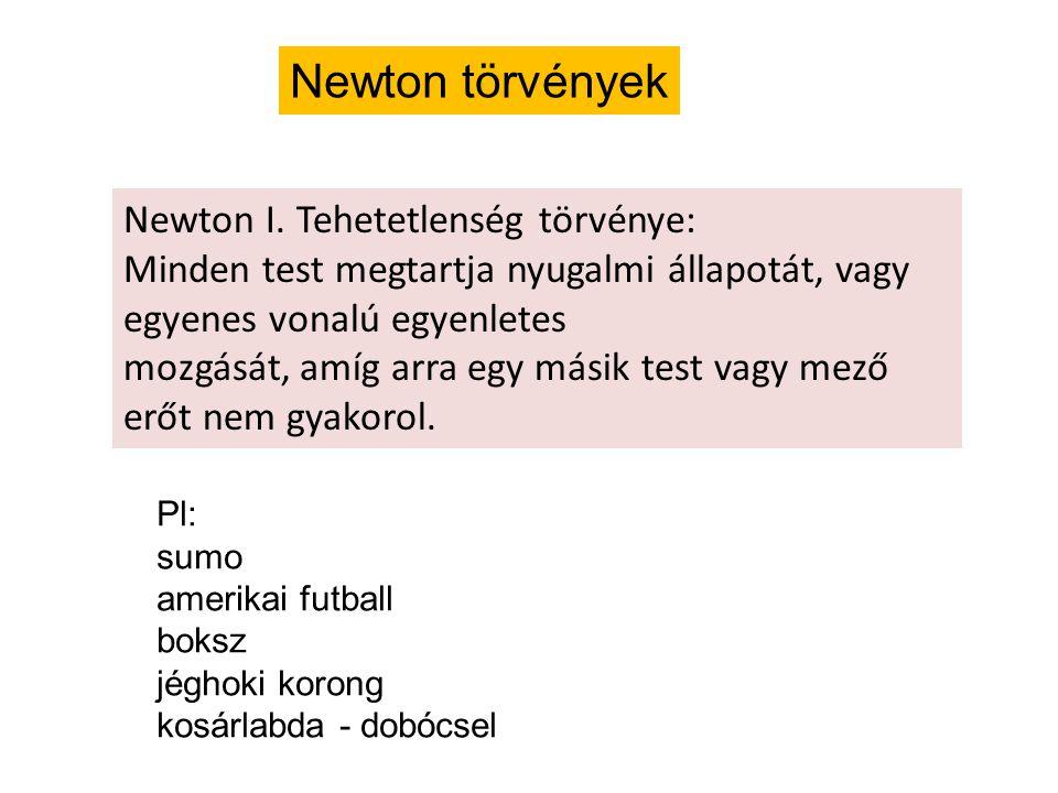 Newton törvények Newton I. Tehetetlenség törvénye: