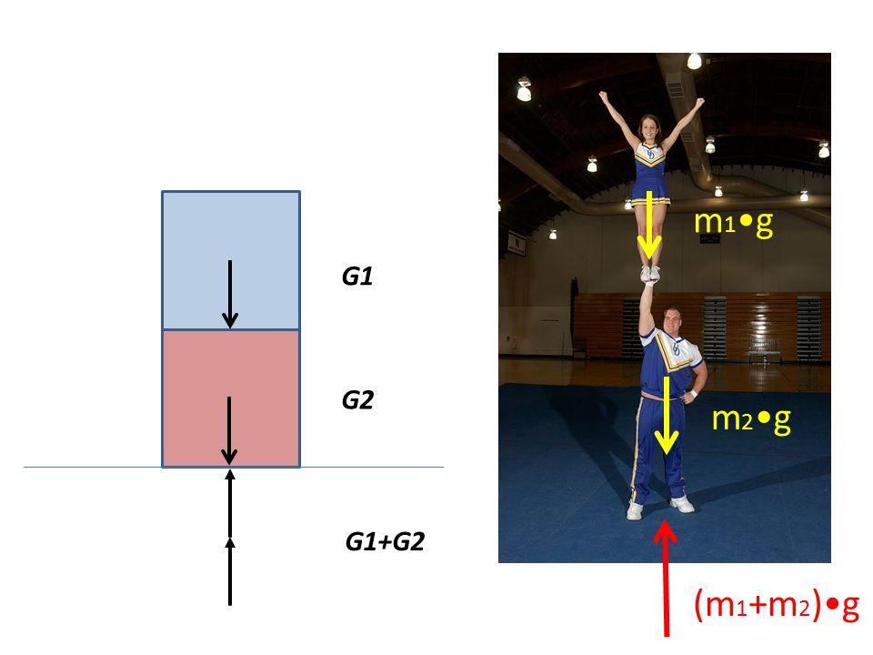 m1•g G1 G2 m2•g G1+G2 (m1+m2)•g